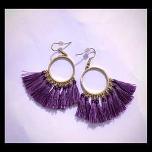 Purple and Gold Fringe Earrings